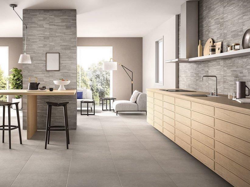 Gres porcellanato effetto cemento minimal arkistar iperceramica - Rivestimento cucina effetto legno ...