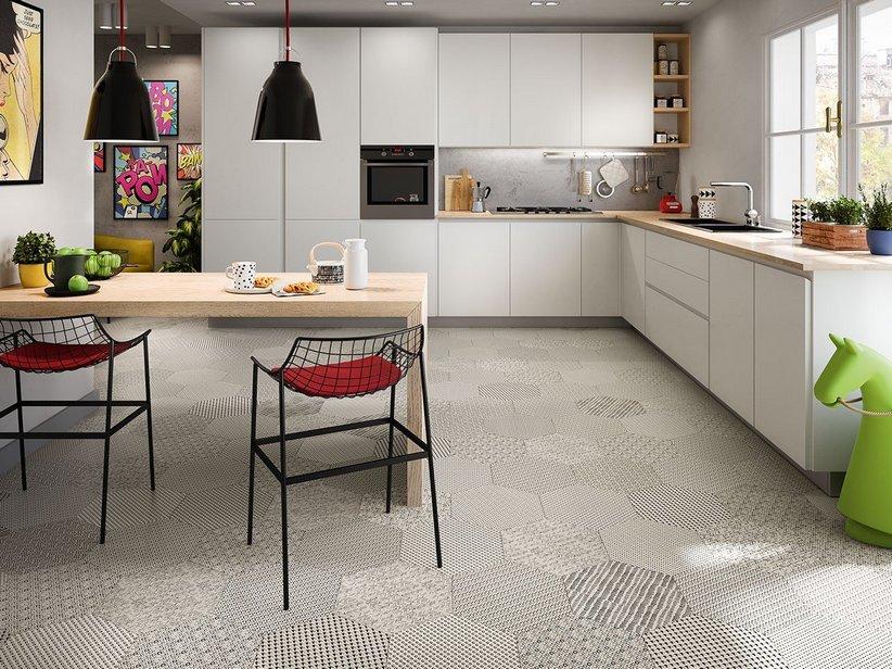 Pavimento esagonale in gres porcellanato bee iperceramica - Piastrelle disegnate ...
