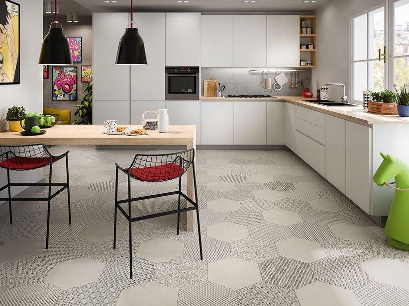 Pavimento esagonale in gres porcellanato bee iperceramica - Piastrelle esagonali cucina ...