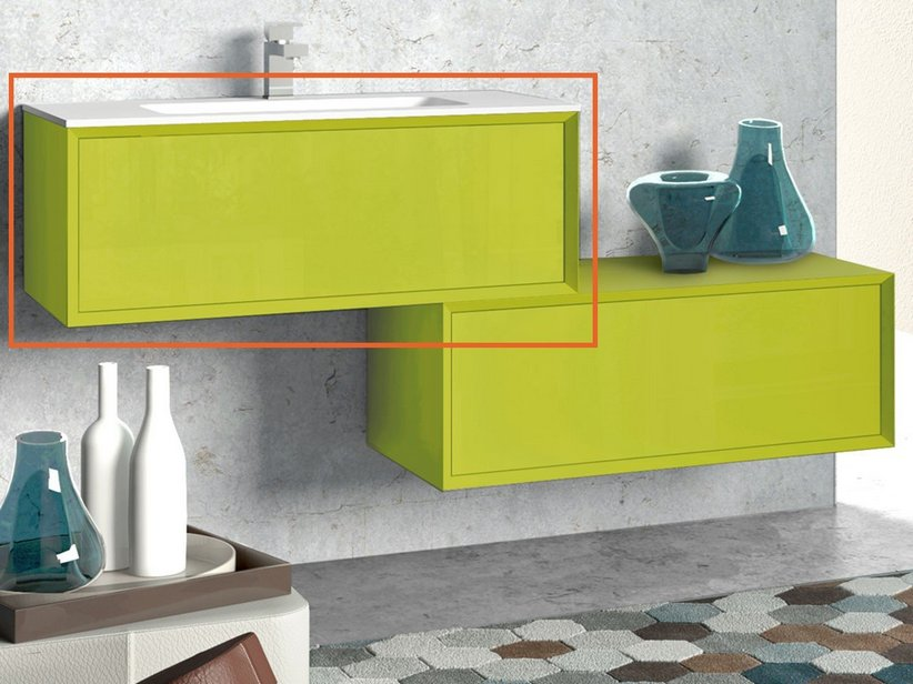 ... bagno Brera 90 Color  BRERA COLOR BASE P/LAVABO 90x50x33 VERDE ACIDO