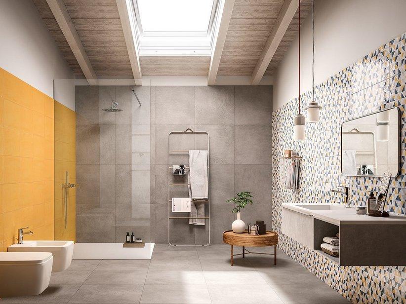 Rivestimento bagno in bicottura colorata easy iperceramica - Iperceramica pavimenti bagno ...