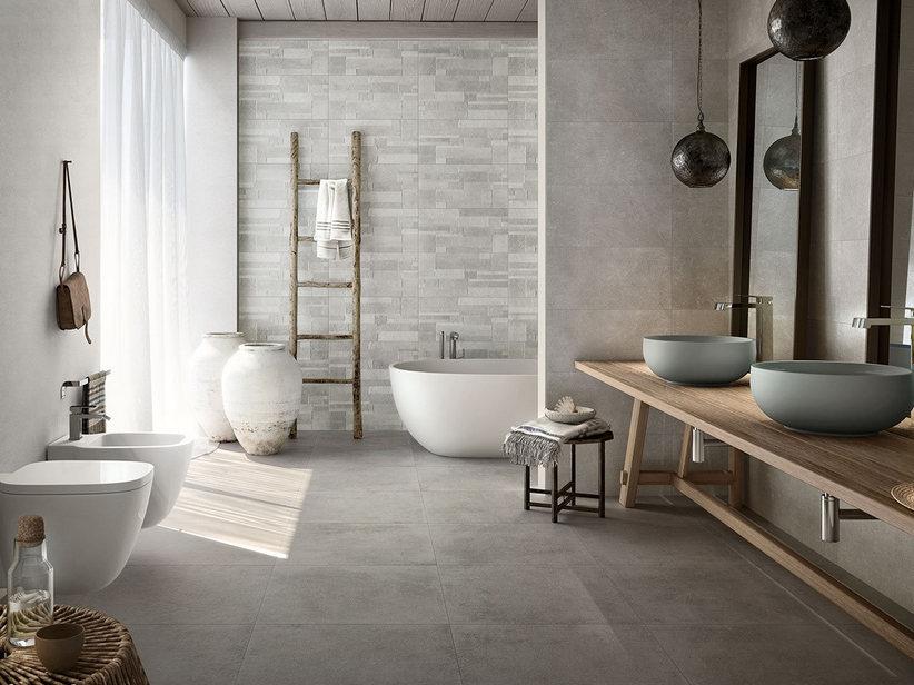 Pavimento e rivestimento in gres effetto pietra ever iperceramica for Rivestimento bagno gres porcellanato