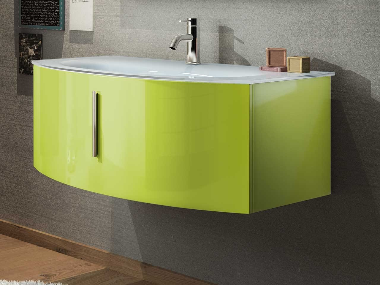 JOLLY COLOR 90 CURVED CABINET 88.5x49 GREEN - Iperceramica