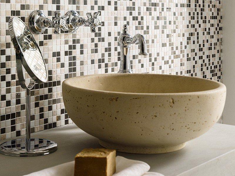 Lavabo d 39 arredo aurea travertino iperceramica - Lavabi bagno in pietra ...