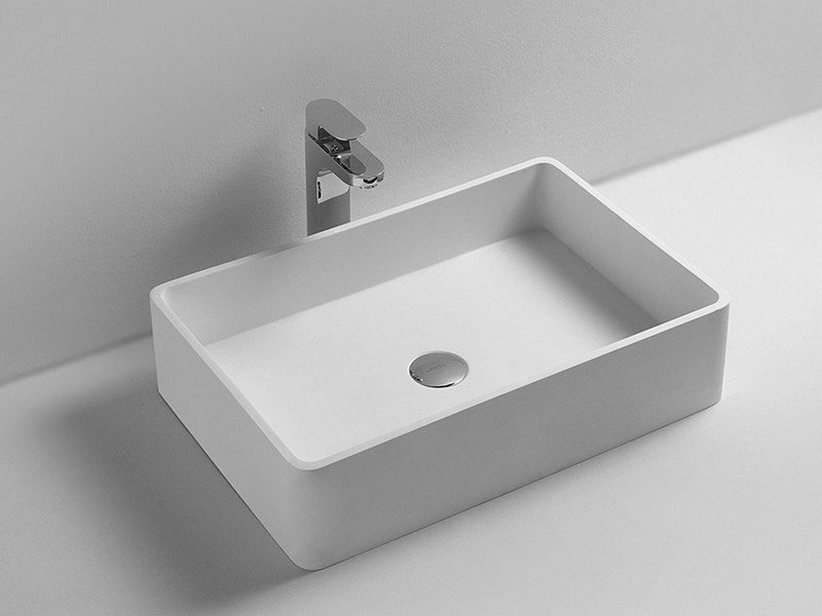 lavabo union 60x40 solid surface bianco iperceramica