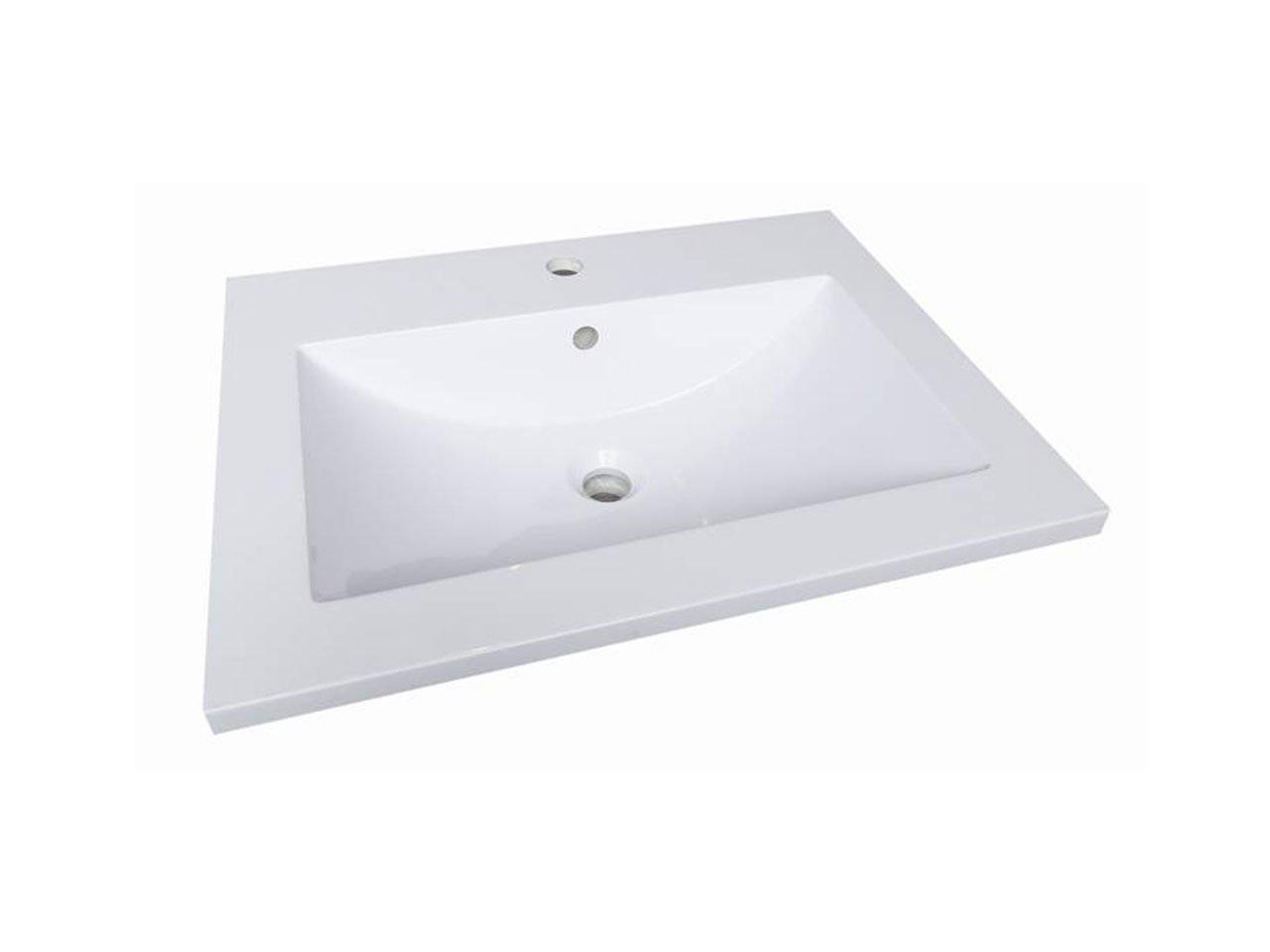 Unitop slim resina 61x46 bianco lucido iperceramica for Lavabo bagno resina