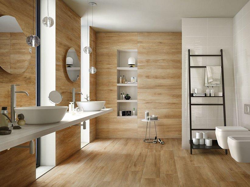 Rivestimento cucina effetto legno rustico lodge iperceramica - Rivestimento bagno legno ...
