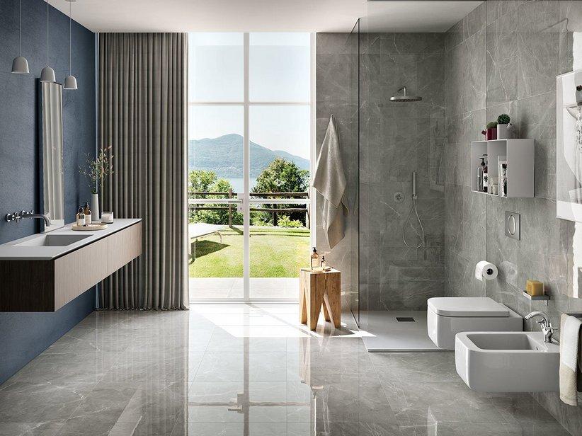 Gres full lappato effetto marmo lucidissimo pulpis grey iperceramica - Iperceramica pavimenti bagno ...