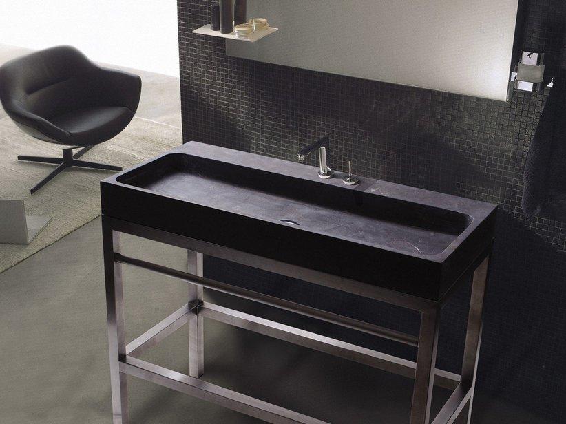 mobile bagno purestone 100 inox e pietra installazione a terra iperceramica
