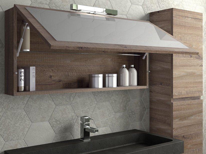 Qubo 100 composizione 14 con lavabo in pietra nera iperceramica - Lavabo bagno in pietra ...