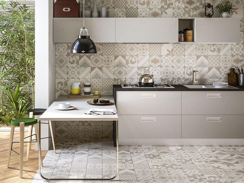 Gres porcellanato effetto cementina quilt iperceramica - Rivestimento cucina no piastrelle ...