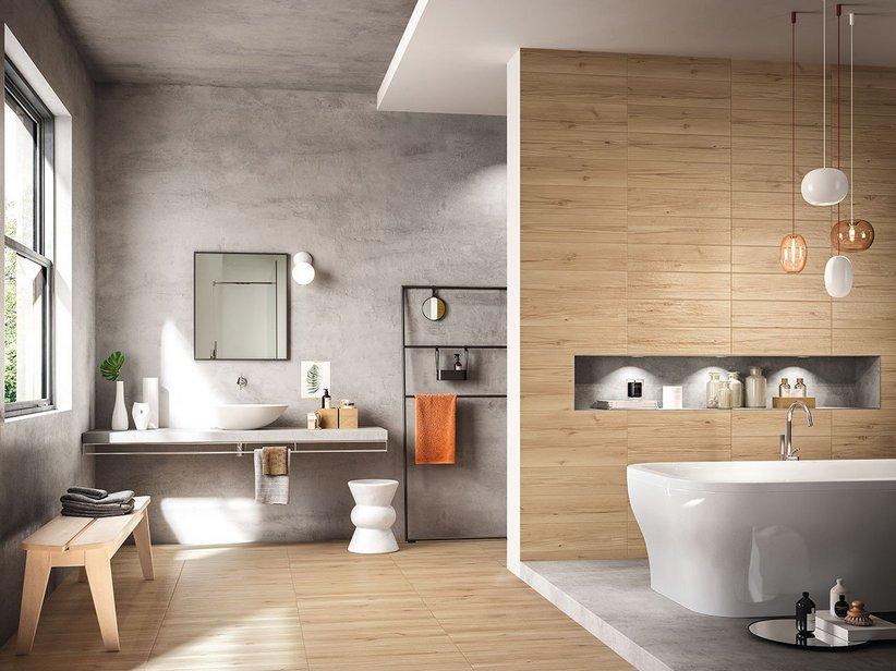 Gres porcellanato effetto legno larice riverside iperceramica - Gres porcellanato effetto legno bagno ...