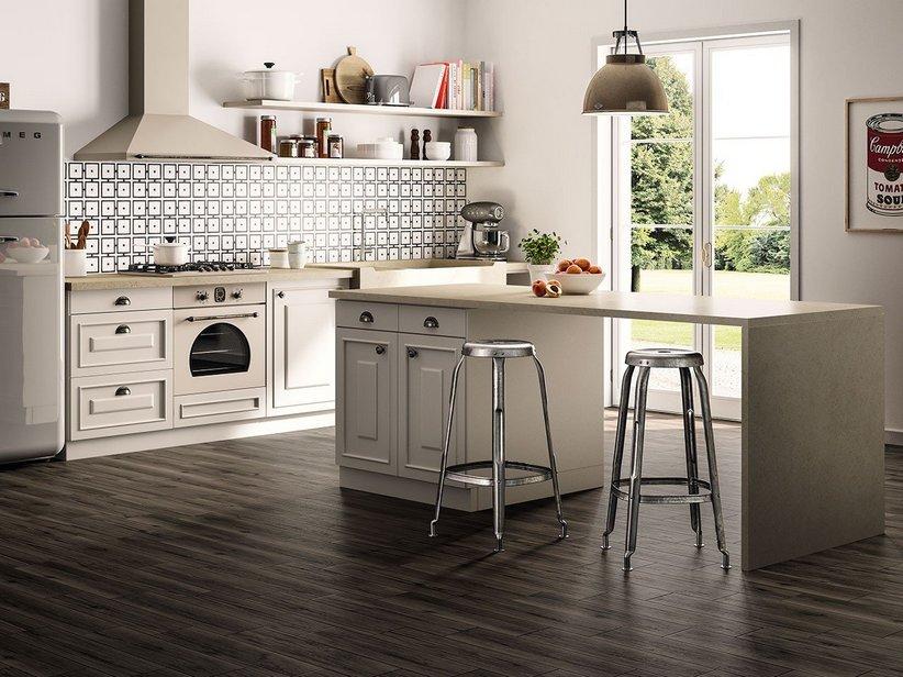 Rivestimento cucina effetto cementina quilt iperceramica - Pellicola rivestimento cucina ...