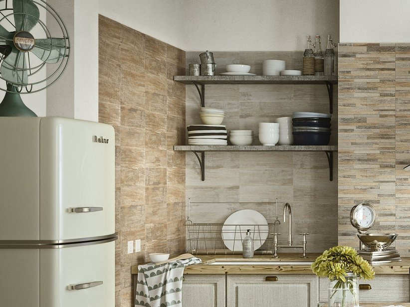 Rivestimento in bicottura effetto legno taiga iperceramica - Rivestimento cucina effetto legno ...