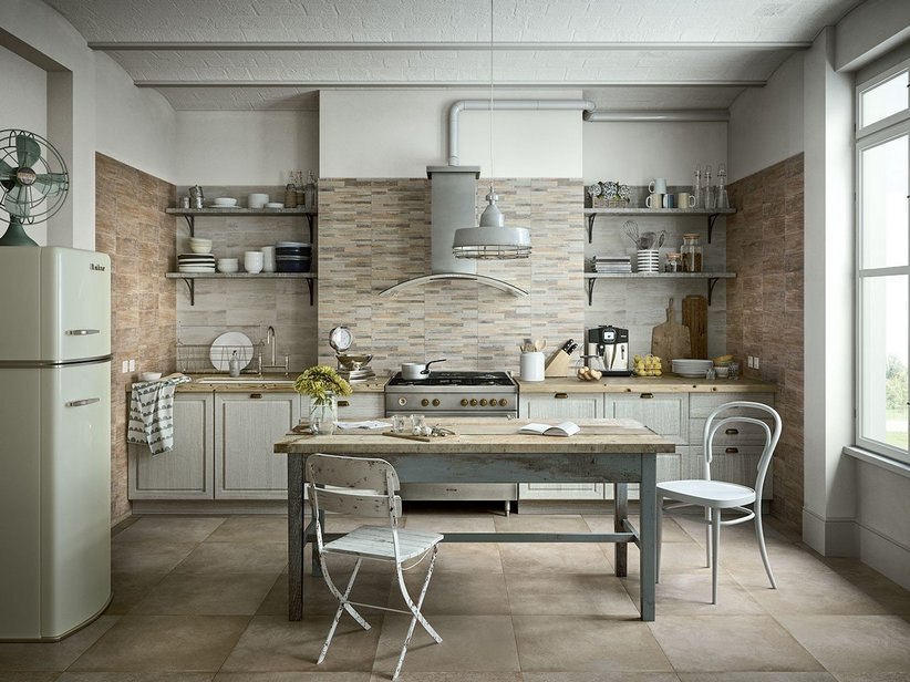 Rivestimento in bicottura effetto legno taiga iperceramica - Rivestimento cucina bianco ...
