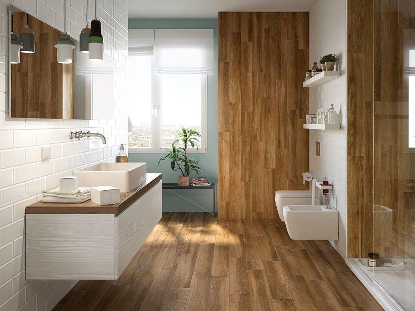 Gres porcellanato effetto legno teak iperceramica - Piastrelle effetto legno per bagno ...