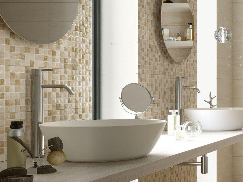 Rivestimento bagno effetto marmo tivoli iperceramica - Piastrelle bagno effetto mosaico ...