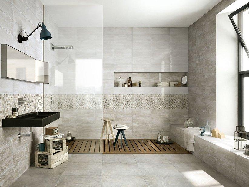 Rivestimento bagno effetto marmo tivoli iperceramica - Rivestimento bagno grigio ...