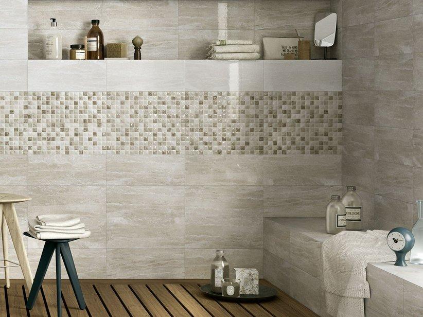 Rivestimento bagno effetto marmo tivoli iperceramica for Piastrelle bagno mosaico grigio