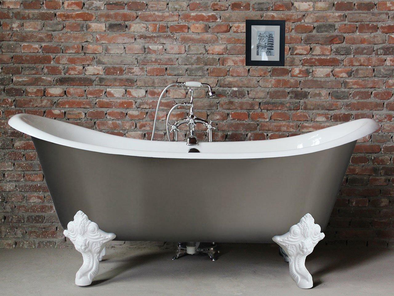 Vasca lucrezia 186x77 bianco grigio iperceramica for Offerta sanitari bagno