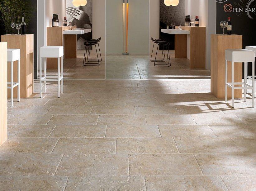 Pavimenti in gres effetto pietra confortevole soggiorno - Piastrelle gres porcellanato effetto pietra ...