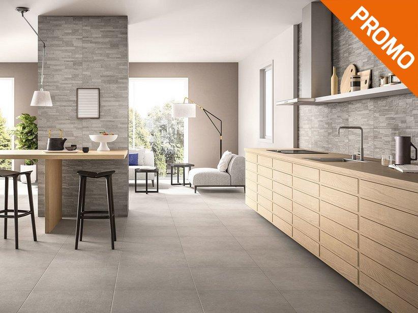 Rivestimento cucina effetto cemento minimal arkistar iperceramica - Rivestimento cucina bianco ...