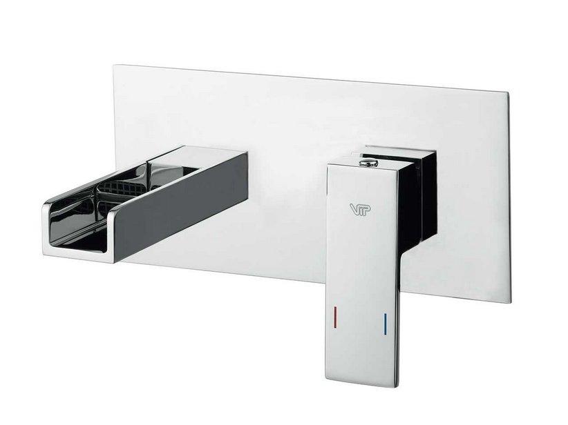 Barbara a cascata lavabo incasso a muro cromo iperceramica - Rubinetti a muro bagno ...