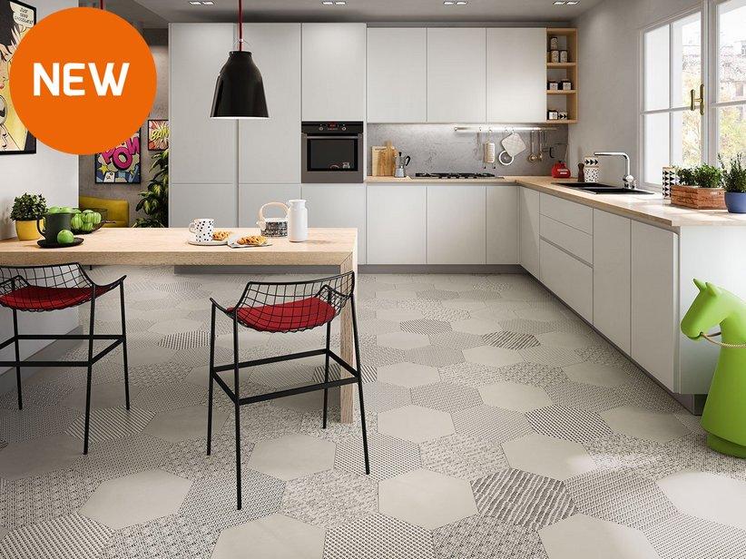 Piastrella cucina esagonale in gres porcellanato bee iperceramica - Mattonelle pavimento cucina ...