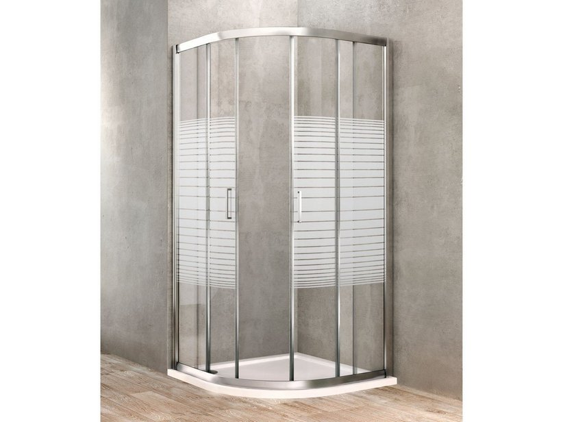 GOLD SILK-SCREEN SHOWER SEMICIRCULAR ENCLOSURE 80 CHROME - Iperceramica