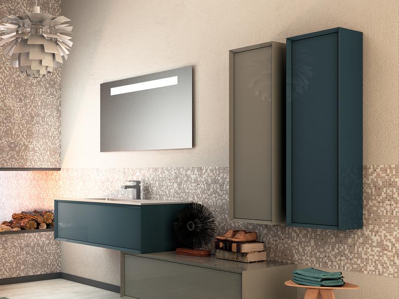Mobile bagno brera 90 blu atlantico lucido e lavabo resina for Mobile bagno blu