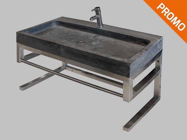 Mobile bagno Purestone 60 Inox e Pietra - Iperceramica