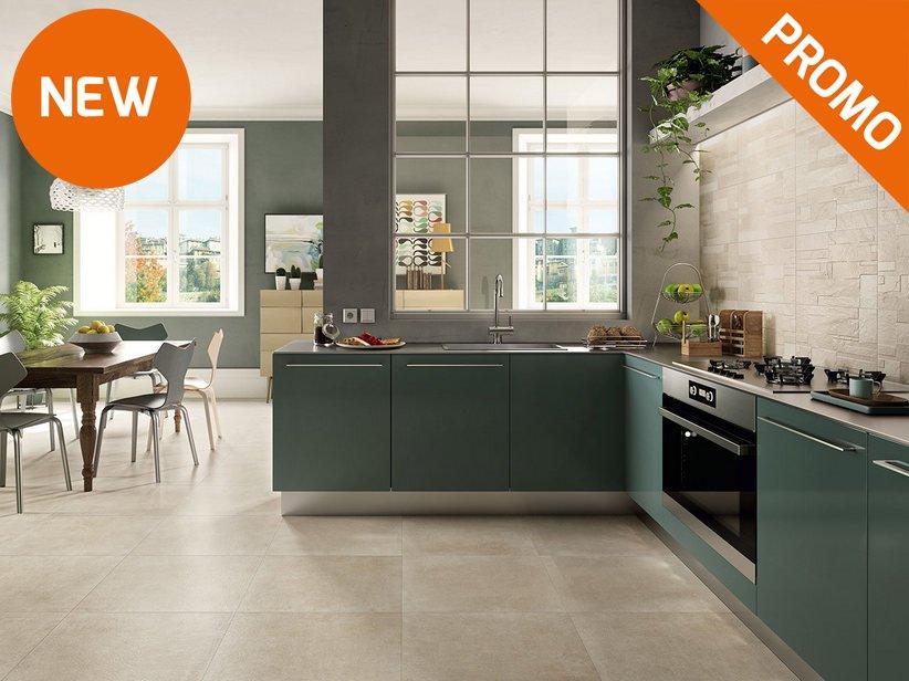 Pavimento e rivestimento cucina effetto pietra ever iperceramica - Mattonelle pavimento cucina ...