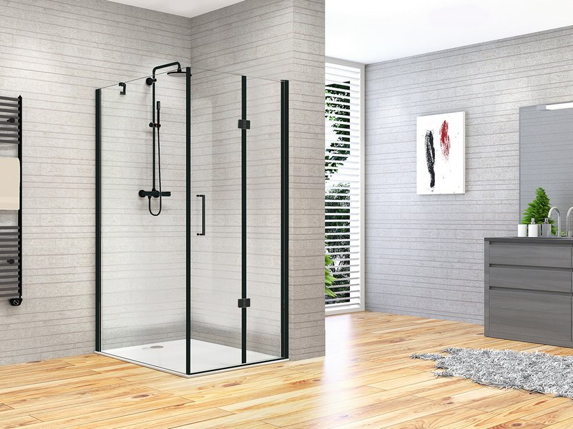 fantasy2 duschkabine faltt r feste seite 80x90 schwarz matt iperceramica. Black Bedroom Furniture Sets. Home Design Ideas