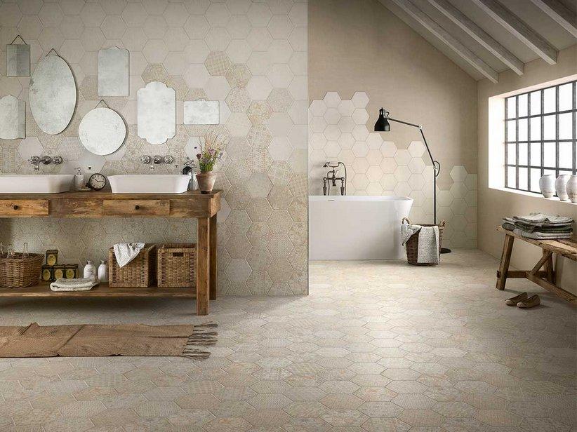 Gres porcellanato decorato esagonale hopi iperceramica - Montaggio piastrelle bagno ...