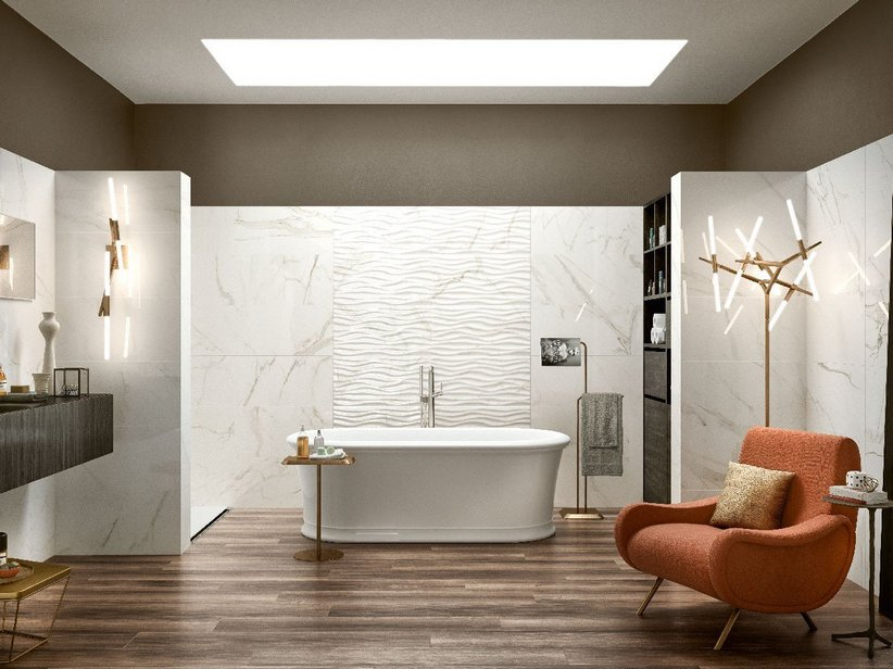 Rivestimento in bicottura effetto marmo lucido julia iperceramica - Iperceramica rivestimenti bagno ...