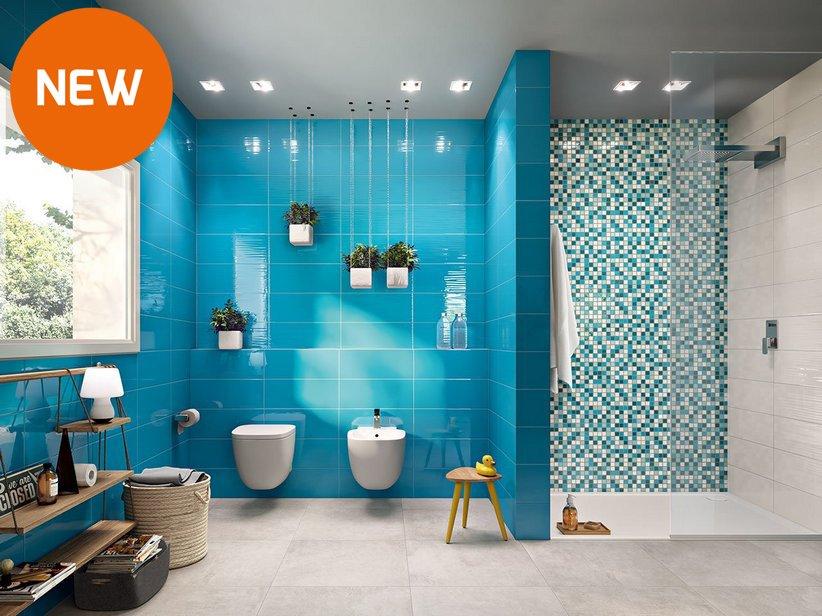 Rivestimento in bicottura supercolorato lagoon - Mosaico blu bagno ...