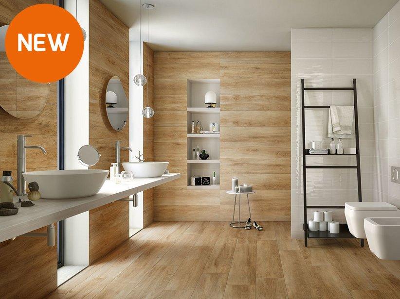 Rivestimento bagno effetto legno rustico lodge iperceramica - Piastrelle pietra bagno ...