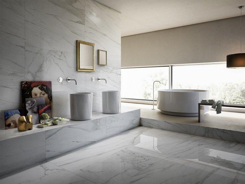 Rivestimento bagno lappato effetto marmo luni iperceramica