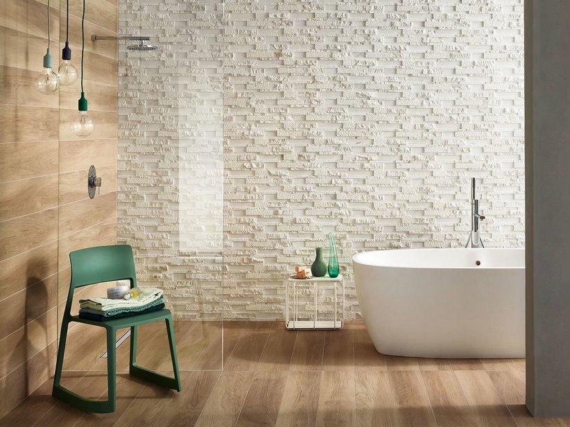 Pietra naturale bianca effetto muretto milestone white - Rivestimenti bagno in pietra naturale ...
