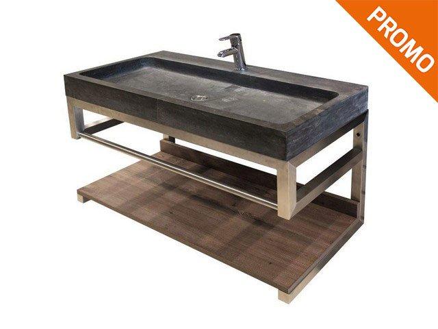 Mobile bagno lodge con lavabo in pietra nera bagno