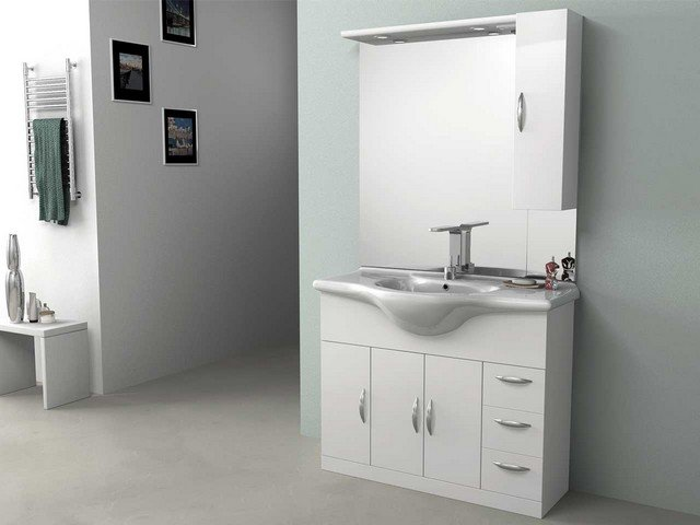 Mobile bagno loira da cm color bianco lucido bz regarding