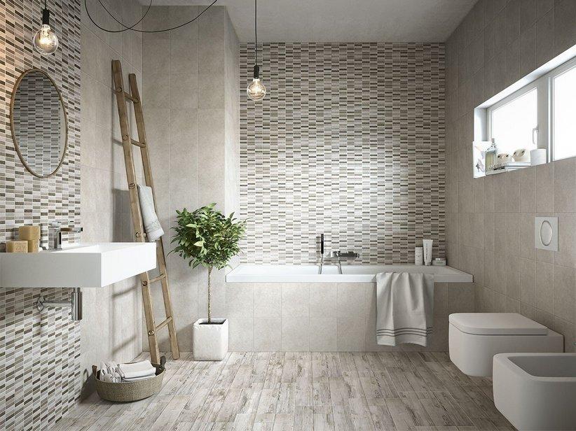 Rivestimento bagno myhome iperceramica for Piastrelle bagno mosaico grigio