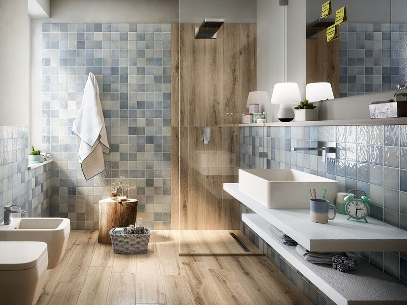 Rivestimento bagno 10x10 napoli iperceramica - Piastrelle grigie bagno ...