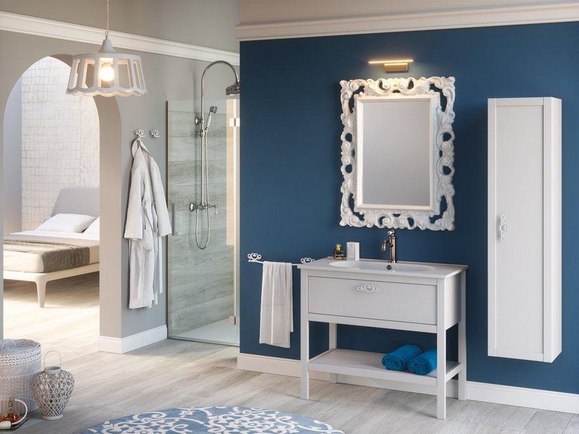 Mobile bagno newport 91 cm frassino bianco con lavabo for Prezzi lavabo bagno