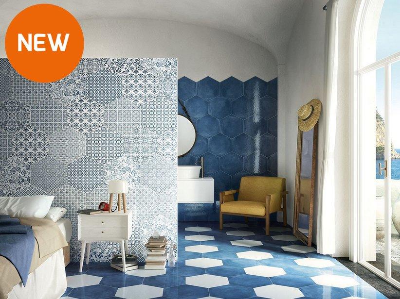 Gres Porcellanato Esagonale Stile Maiolica Oltremare