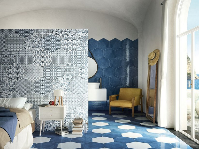 Gres porcellanato esagonale stile maiolica oltremare iperceramica