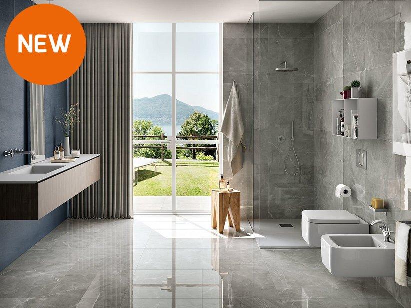 Rivestimento bagno effetto marmo lucidissimo lappato rettificato pulpis grey iperceramica - Iperceramica rivestimenti bagno ...