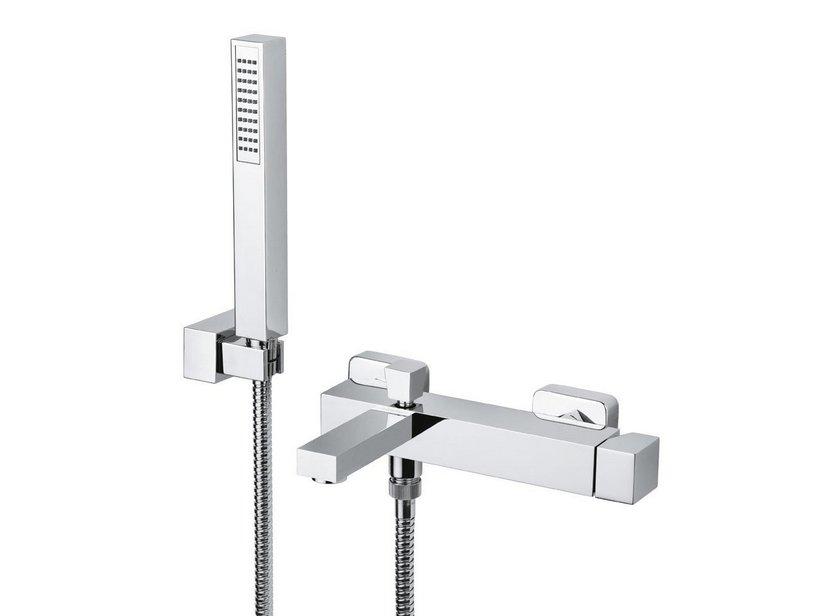 Quadra miscelatore vasca a muro con kit doccia iperceramica - Rubinetti a muro bagno ...