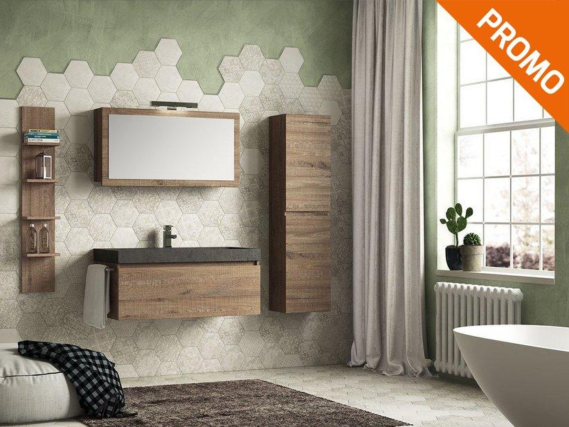Qubo 100 composizione 14 con lavabo in pietra nera - Iperceramica mobili bagno ...