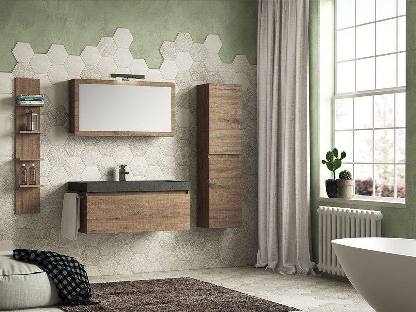 Qubo 100 composizione 14 con lavabo in pietra nera iperceramica - Lavabo in pietra per bagno ...